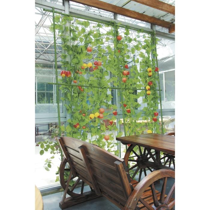 Опора для вьющихся растений, 0.9 × 1,8 м, в наборе: металлический каркас, сетка, зелёный