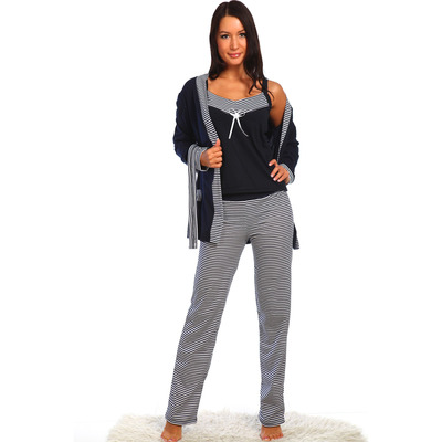 Комплект женский (халат, майка, брюки) Марина цвет синий, р-р 48
