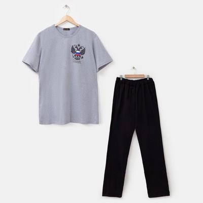 Комплект мужской (футболка, брюки) Гранит цвет чёрный, р-р 56