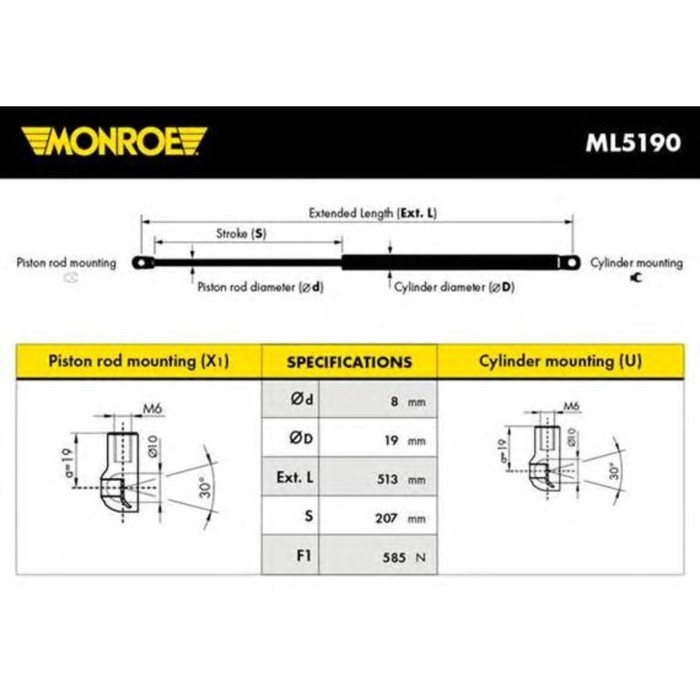 Амортизатор багажника MONROE ML5190