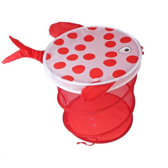 """Корзина для игрушек """"Рыбка"""" с крышкой, цвет красно-белый"""