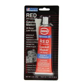 Герметик прокладок ABRO MASTERS красный, силиконовый, высокотемпературный, 85 г, 11-AB-CH-RE-S