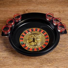 """Пьяная игра """"Алко-Вегас"""", рулетка черная d=30 см, 6 стопок, микс"""