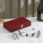 Набор для вина, 5 предметов: штопор, нож для срезания фольги, пробка, каплеуловитель, термометр - фото 187666