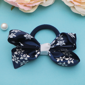 Резинка для волос бант 'Школьница' d-8 см, бело-синяя, с цветами Ош