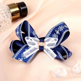 Резинка для волос бант 'Школьница' d-8 см, синяя, цветочный орнамент Ош