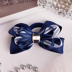 Резинка для волос бант 'Школьница' d-8 см, синяя с белым бантом Ош