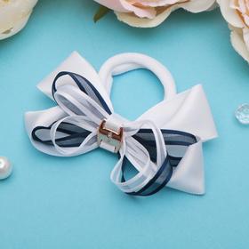 Резинка для волос бант 'Школьница' d-8 см, белая с синей лентой Ош