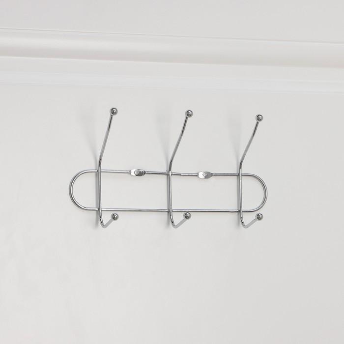 Вешалка настенная на 3 двойных крючка «Блеск», 23×7×10 см, цвет серебро - фото 1717568
