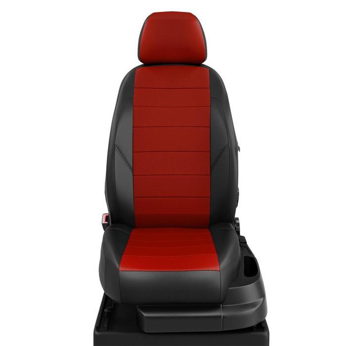 Чехлы для Toyota Avensis 1 с 1997-2003г. седан Задняя спинка 40/60, сиденье единое. Задний полокотник (молния), 2 надкрыл., 5-подголов. Середина: экокожа красная с перф.. Боковины: чёрная экокожа. Спинка: чёрная экокожа.