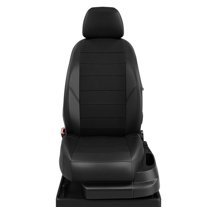 Чехлы для Volkswagen Caddy с 2015-н.в. фургон Задние спинка и сидение 40/60. Передний подлокот., 5 подголов. Середина: экокожа чёрная с перф.. Боковины: чёрная экокожа. Спинка: чёрная экокожа.