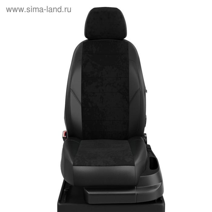Чехлы для Skoda Yeti с 2010-н.в. джип Второй ряд три кресла-трансформеры. Передний подлокот., 5 подголов. Середина: чёрная алькантара. Боковины: чёрная экокожа. Спинка: чёрная экокожа.