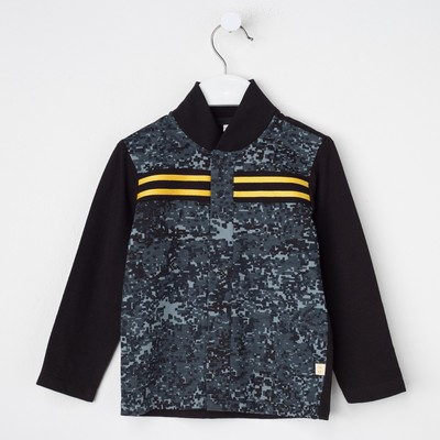 Рубашка для мальчика, рост 80 см, цвет чёрный/карбон милитари Рб-200.1_М