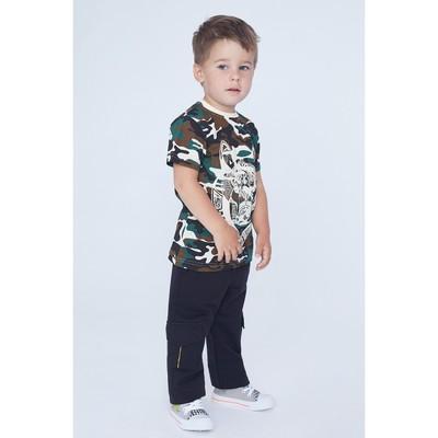 Брюки для мальчика, рост 116 см, цвет чёрный/зелёный Бр-195
