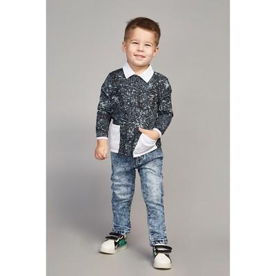 Рубашка для мальчика, рост 116 см, цвет белый/карбон милитари Рб-217.1