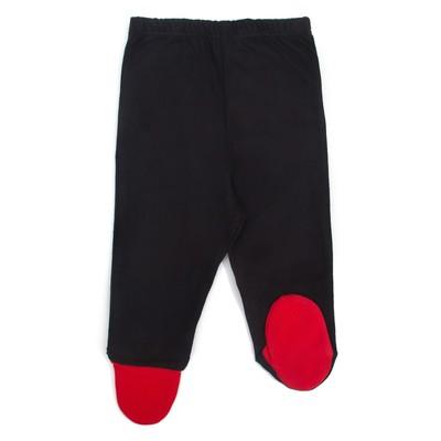 Ползунки детские, рост 62 см, цвет чёрный/красный Пз-210_М