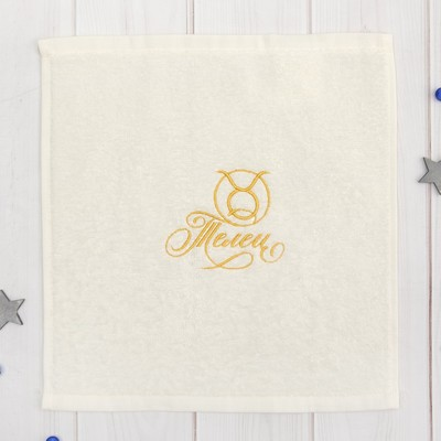 "Terry towel ""Taurus"" 30x30 cm, color milk, 100% cotton, 340 g/m2"