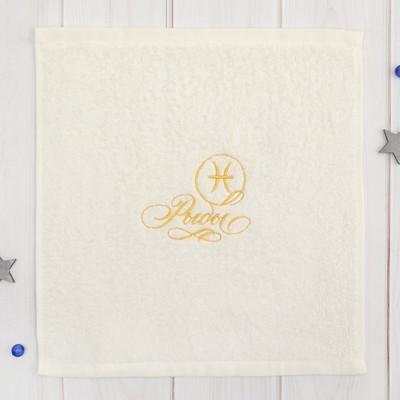 """Terry towel """"Fish"""" 30x30 cm, color milk, 100% cotton, 340 g/m2"""