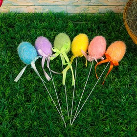"""A souvenir on a stick """"Egg with sequins, color"""", set of 6 PCs"""