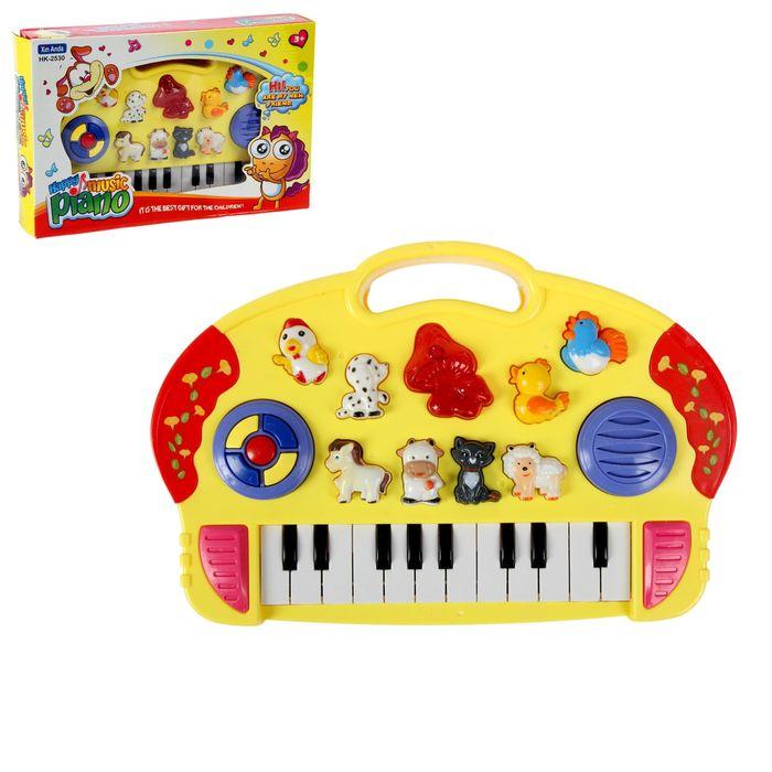 """Пианино детское """"Ферма"""", звуковые эффекты, работает от батареек, цвета МИКС"""