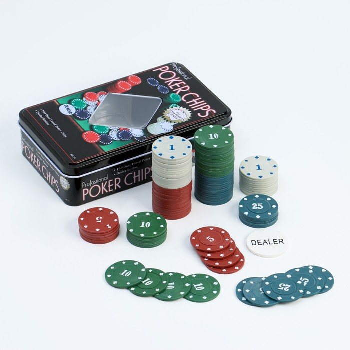 Набор для покера Professional Poker Chips: 100 фишек с номиналом, фишка дилера, металлическая коробка