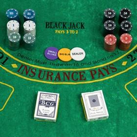 Покер, набор для игры (карты 2 колоды, фишки 240 шт, сукно 60х90 см), микс