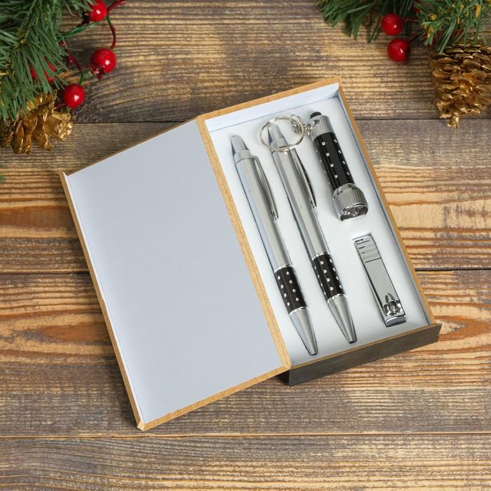 Набор подарочный 4в1 (2 ручки, кусачки, фонарик черный)
