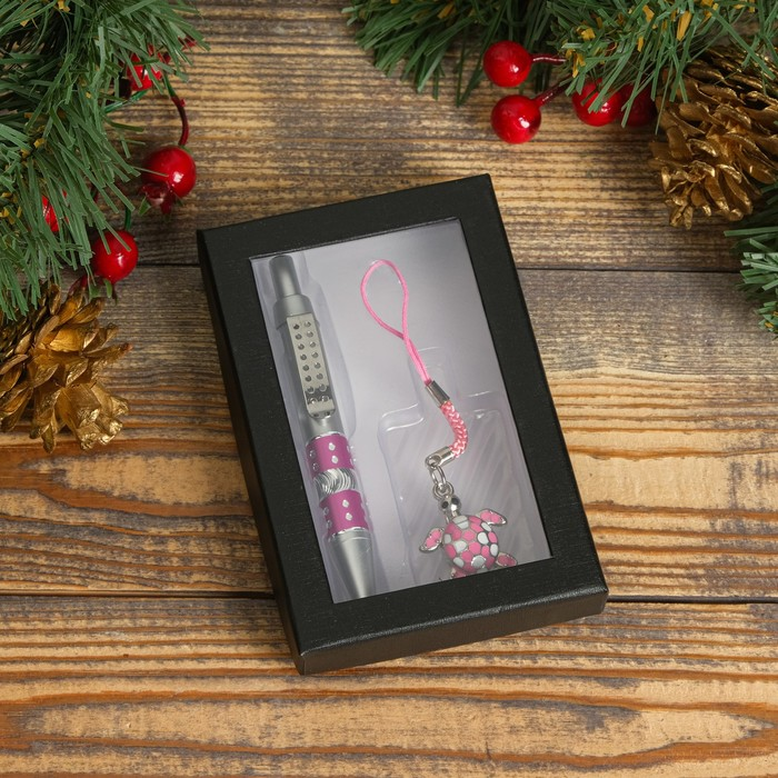"""Набор подарочный 2в1: ручка, подвеска """"Черепаха с колокольчиками"""", цвет розовый"""