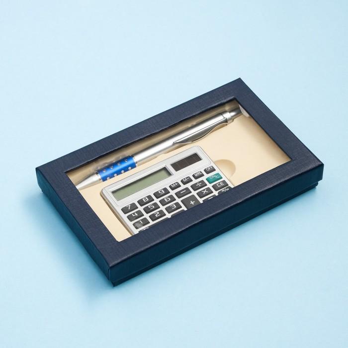 Набор подарочный 2в1: ручка, калькулятор, синий