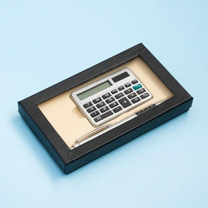 Набор подарочный 2в1: ручка, калькулятор, черный