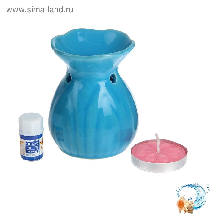 "Набор 3 в 1 (свеча, аромалампа, аромамасло ""Океан"")"