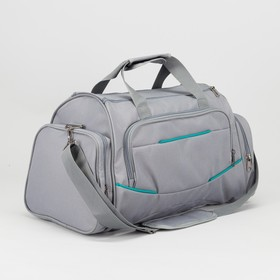 Сумка спортивная, отдел на молнии, 3 наружных кармана, длинный ремень, цвет серый