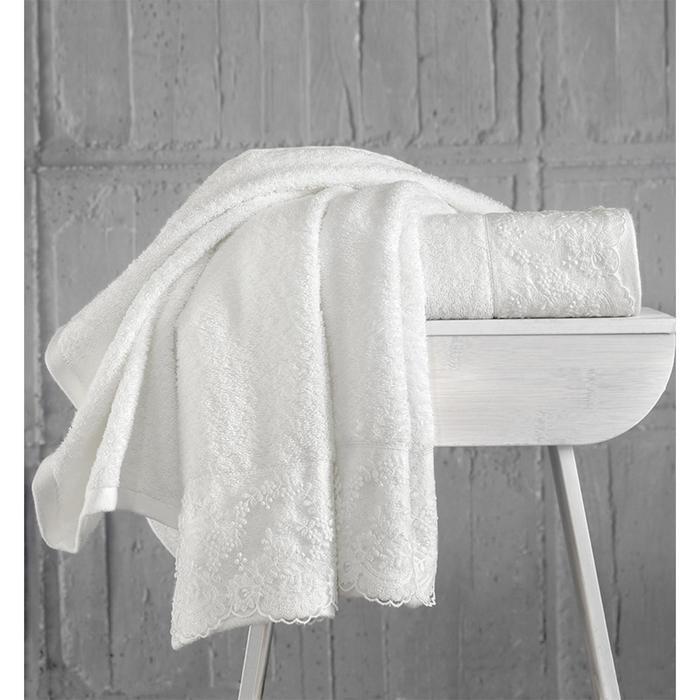 Комплект махровых полотенец Elinda, 50 х 90 см - 2 шт, кремовый - фото 7929590