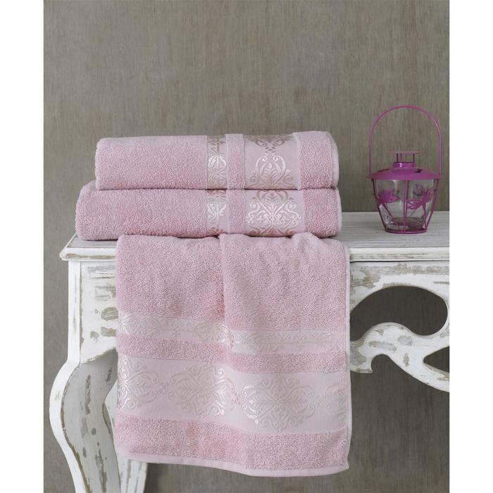 Полотенце Rebeka, размер 70 × 140 см, грязно-розовый