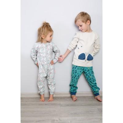 Пижама для мальчика, рост 122 см, цвет бежевый/бирюзовый 172-245-05