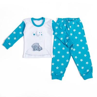 """Пижама для девочки """"Мишки-Тедди"""", рост 98-104 см, цвет бирюзовый, принт звезды т119"""