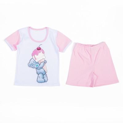 """Пижама для девочки """"Мишки-Тедди"""", рост 104-110 см, цвет розовый мт105"""
