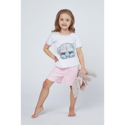 """Пижама для девочки """"Мишки-Тедди"""", рост 98-104 см, цвет розовый т106"""