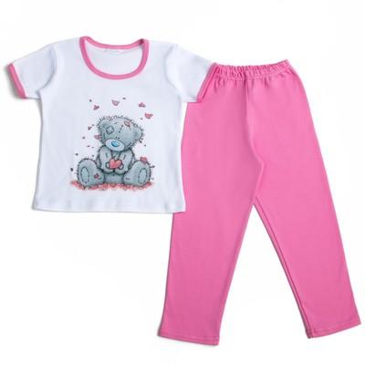 """Пижама для девочки """"Мишки-Тедди"""", рост 110-116 см, цвет розовый т107"""