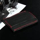 Кошелёк мужской, отдел для купюр, для карт, цвет чёрный с красной нитью