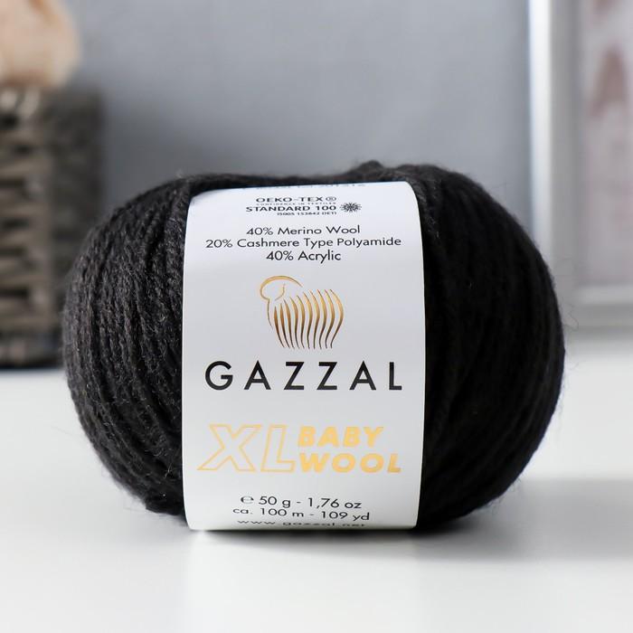 """Пряжа """"Baby Wool XL"""" 20% кашемир, 40% меринос. шерсть, 40% акрил 100м/50гр (803 чёрный) - фото 7257910"""