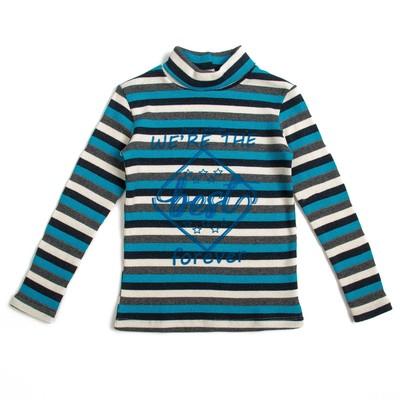 Джемпер для девочки, рост 116 см, цвет бирюзовый, принт полоса Л772