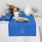 """Дорожка на стол """"Этель"""" Волшебная ёлка, 140х40 цвет синий, с ВМГО хл, 200 гр/м²"""