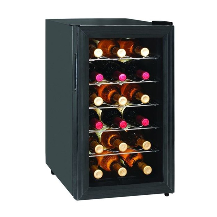 Винный шкаф GASTRORAG JC-48, 48 л, 18 бутылок х 0.75 л, +12 до +18°С, подсветка, чёрный