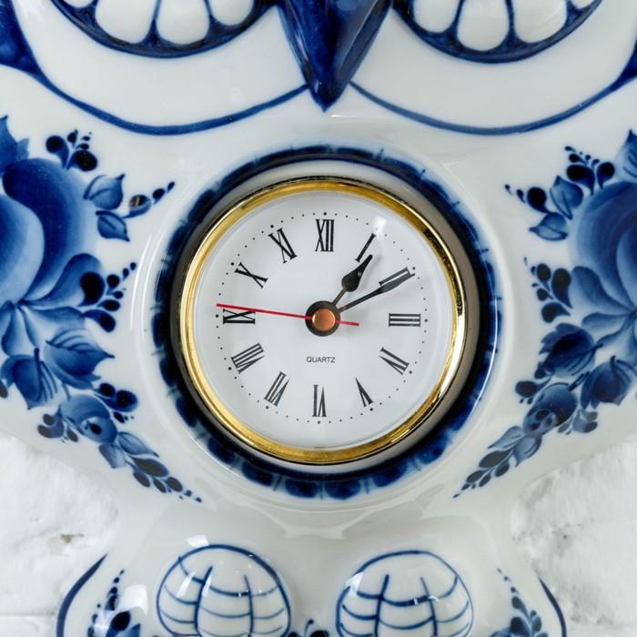 Часы «Сова», 24х27,5 см, гжель