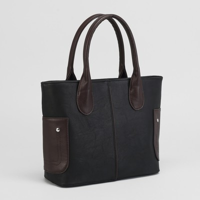 Сумка женская, отдел на молнии, наружный карман, цвет коричневый/чёрный
