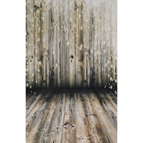 """Фотофон винил """"Состаренные доски с светлячками"""" стена+пол 80х125 см"""
