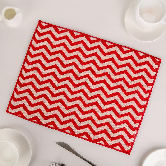 """Коврик для сушки посуды 30×40 см """"Зигзаг"""", микрофибра, цвет красный"""