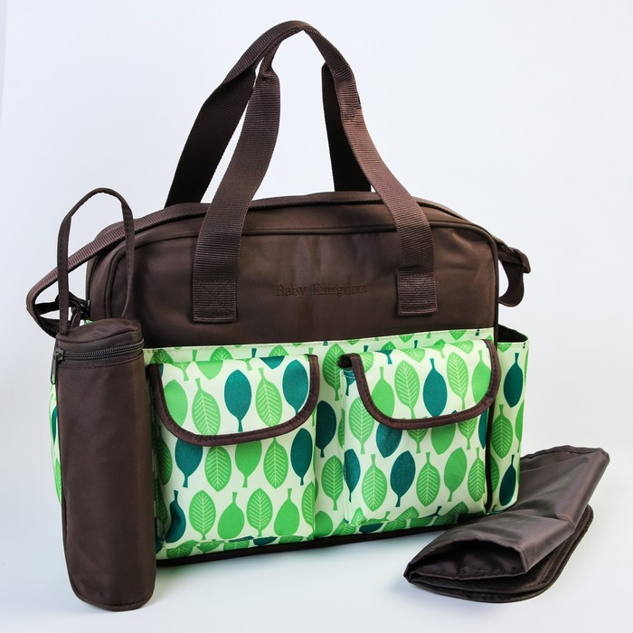 Сумка для мамы и малыша, с ковриком для пеленания и термосумкой для бутылочки, цвет зелёный/коричневый