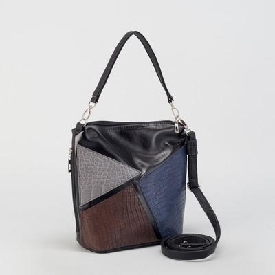Сумка женская, отдел на молнии, наружный карман, регулируемый ремень, цвет коричневый/синий